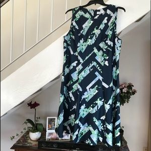 NWOT. Blue geometric and floral dress